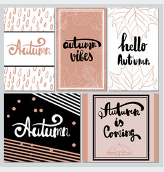 collection of autumn typography for flyer vector image vector image