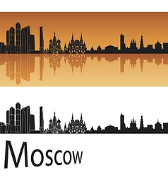 Moscow skyline in orange background vector image
