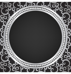 silver pattern with swirls and pearl frame vector image