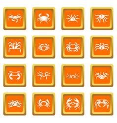 various crab icons set orange vector image