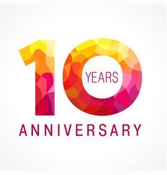 10 anniversary red logo vector