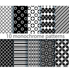 10 seamless monochrome patterns vector image