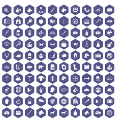 100 dog icons hexagon purple vector
