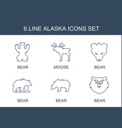 6 alaska icons vector