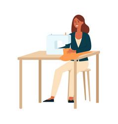 A dark brown haired woman sews a dressmaker vector