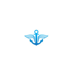 Anchor sign wing emblem logo vector