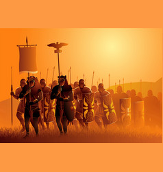 Ancient rome legionary march in grass field vector