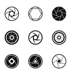 Aperture icons set simple style vector