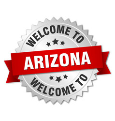 Arizona 3d silver badge with red ribbon vector