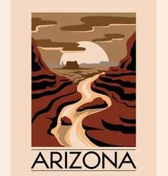 Arizona hand drawn landscape desert isolated vector