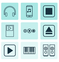Audio icons set with stop music music application vector