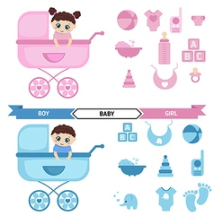 Baby in the stroller and baby icons set vector image