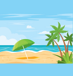 beach background with umbrella vector image