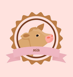 Beige cow head milk label vector