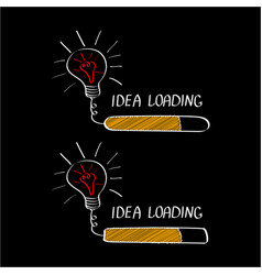 Big idea with loading bar isolated on black vector