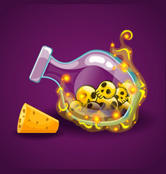 bottle with skull and magic smoke vector image