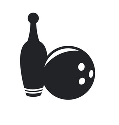 Bowling ball and pin game equipment pictogram vector