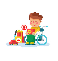 Boy in a wheel chair with toys vector