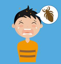 Boy with head lice vector