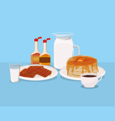 Breakfast waffles and pancakes design vector