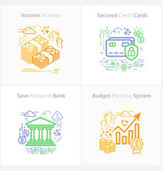 business and finance icon set income increase vector image