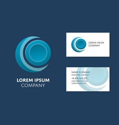 business card template with blue circle logo vector image