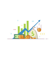 business chart and money vector image