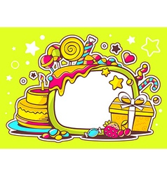 Cake gift and sweets with frame on green vector