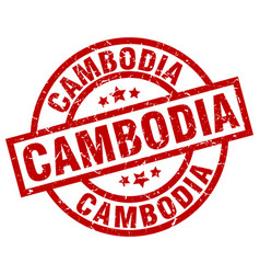Cambodia red round grunge stamp vector