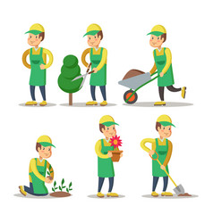 Cartoon gardener planting plant gardening vector