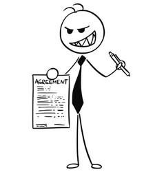 Cartoon of businessman salesman offering vector