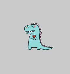 Cartoon sad dinosaur holding a red broken heart vector