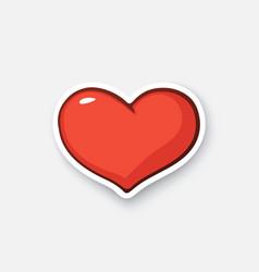 Cartoon sticker heart vector