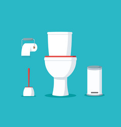 ceramic toilet bowl with paper roll and brush vector image