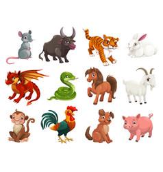 Chinese horoscope cartoon animals vector