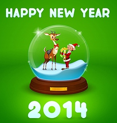 christmas elf and christmas deer inside ball vector image