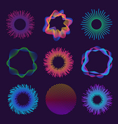 circle audio waves neon round music soundwave vector image