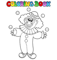 Coloring book with cheerful clown 1 vector