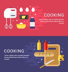 Cooking Concept Set of Flat Style for Web Banners vector image