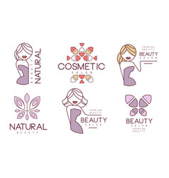 cosmetic salon premium quality labels set natural vector image
