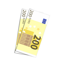 Couple of simple two hundred euro banknotes vector