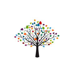 Creative colorful tree logo designs concept vector