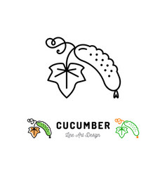 Cucumber icon vegetables logo thin line vector