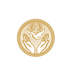 dove and flame and praying hands vector image