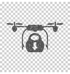 Drone Drop Cargo Grainy Texture Icon vector