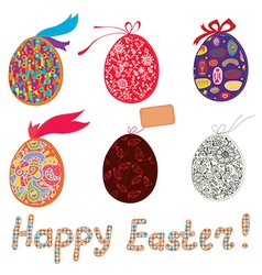 Easter eggs with patterns and banner vector image