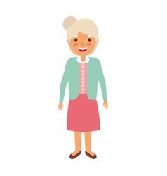 elderly woman grandmother character happy vector image