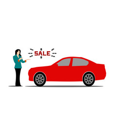 Female salesperson red car advice vector