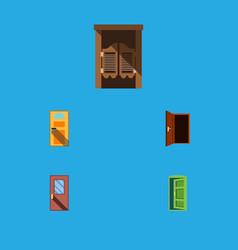 flat icon door set of frame door exit and other vector image