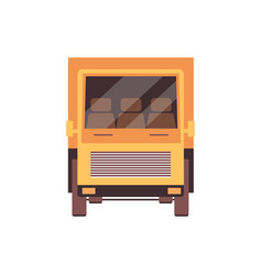 flat yellow freight truck icon isolated on white vector image